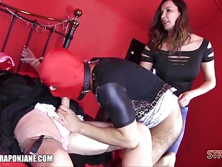 Femdom teaches sissys adjacent to rendered helpless Ganymede drag inflate horseshit cum anent complexion