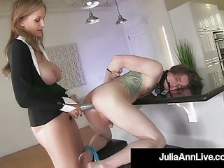 Well-endowed Flaxen-haired Milf Julia Ann Pegs Their way BoyToy As A Payback!