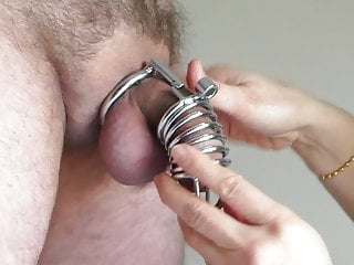 Wife cages his cock and milks his prostate