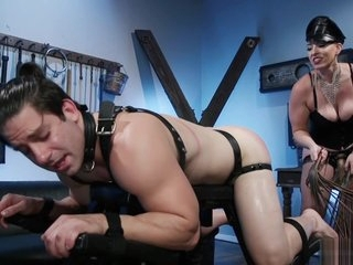 Hot mistress makes man ride Sybian
