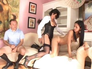 Lesbians and a mature guy enjoying dick