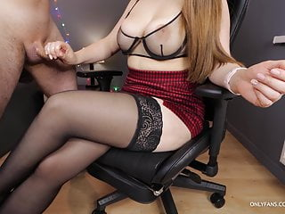 Stepsis with Big Tits, handjob on her stockings and high heels