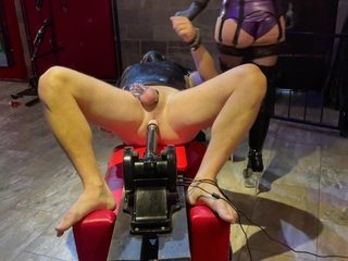 Femdom Mistress Plays With Chastity Caged Slave, Humiliated Having Ass Fucked By Machine And Plugged
