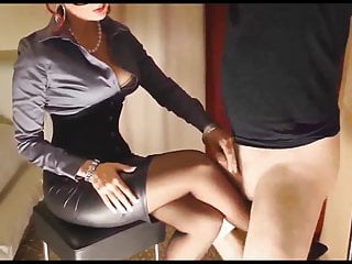 Destined dastard scraping horseshit at bottom Mistress's nylons.